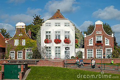 Historic houses in Greetsiel, Germany Editorial Stock Image