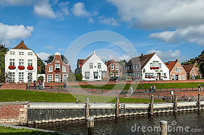 Historic houses in Greetsiel, Germany Editorial Stock Photo