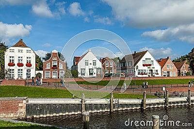 Historic houses in Greetsiel, Germany Editorial Stock Photo