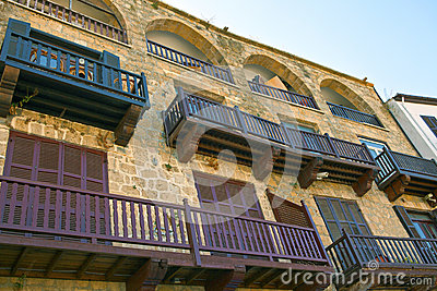 Historic  houses at the harbour in Kyrenia, Cyprus.