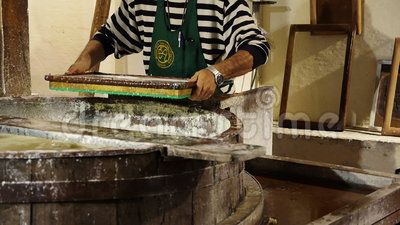 Historic Method Of Paper Making Stock Footage Video Of
