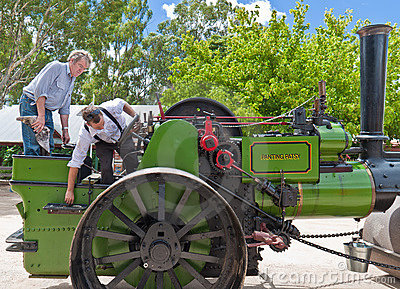 Historic Noyes Bros steam roller in Echuca. Editorial Image