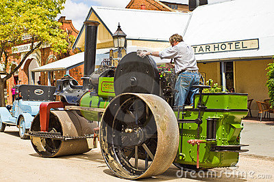 Historic Noyes Bros steamroller in Echuca. Editorial Photo