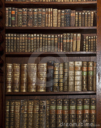 Historic old books in old library