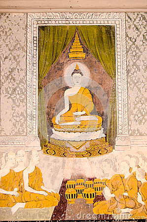 Historic painting of Buddha teaching