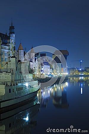Historic Polish city of Gdansk at night