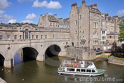 Historic Pulteney Bridge in Bath City, England Editorial Stock Photo