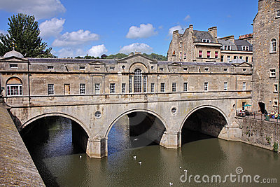 Historic Pulteney Bridge in Bath City, England Editorial Image
