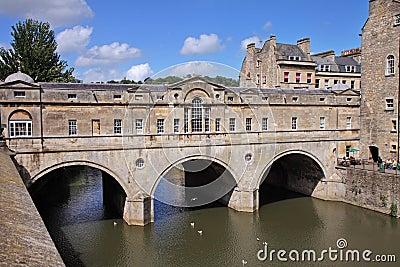 Historic Pulteney Bridge in Bath City, England Editorial Image