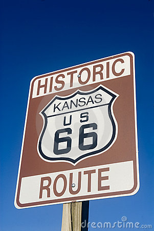 Historic Route 66 sign in Kansas