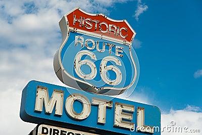 Historic route 66 motel sign in California