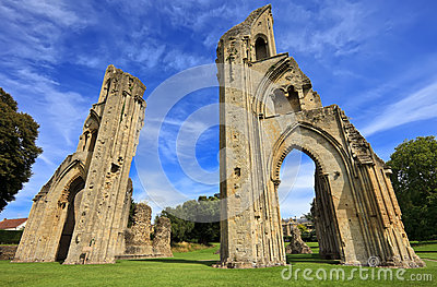 The historic ruins of Glastonbury Abbey in Somerset, England, United Kingdom