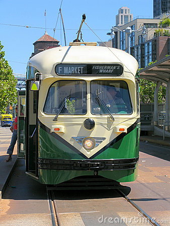 Historic San Francisco Street Car (Green) Front View