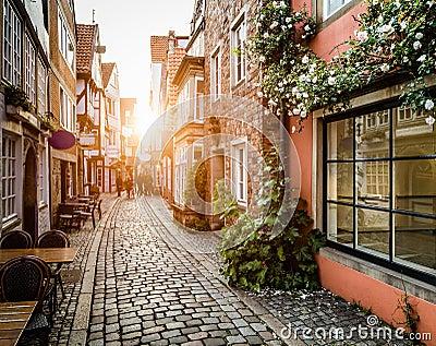 Historic Schnoorviertel at sunset in Bremen, Germany