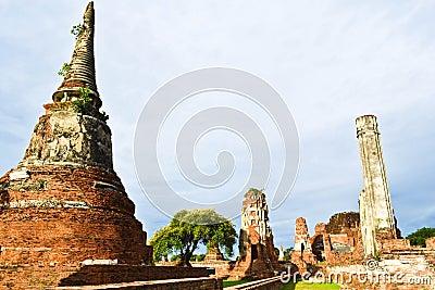 Historic site  in Ayutthaya of thailand