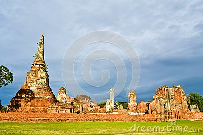 Historic site  in Ayutthaya of thailand