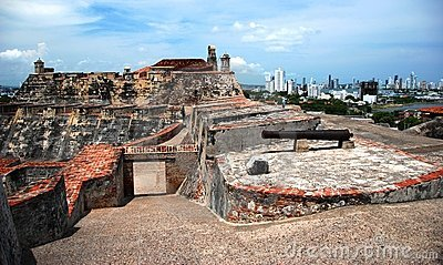 The historic Spanish Fortress in Cartagena Editorial Stock Image