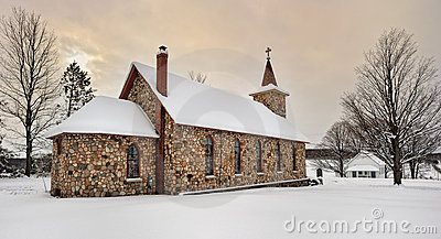 Historic Stone Church in Winter. Michigan USA