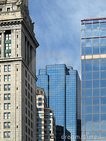 Historic Stone and Modern Glass Buildings