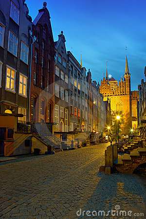 Historic street in Gdansk at night