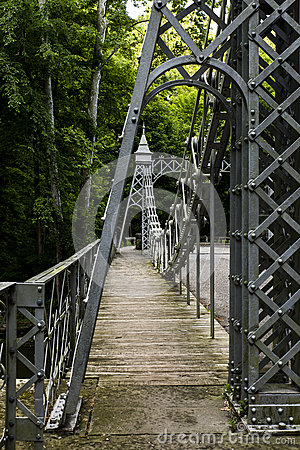 Free Historic Suspension Bridge - Mill Creek Park, Youngstown, Ohio Stock Photos - 87126843