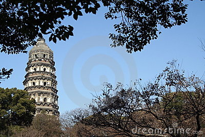 Historic tower Suzhou China