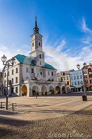 Free Historic Town Hall In The Main Market In Gliwice Royalty Free Stock Image - 37683896