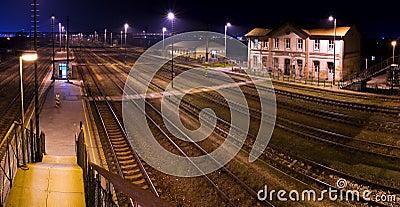 Historic train station, at night