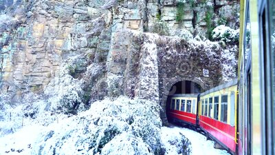 Historic train on the way to the Shimla after Snowfall, UNESCO World Heritage Site, Himachal Pradesh, India. The Kalka–Shimla railway is a in narrow-gauge stock video