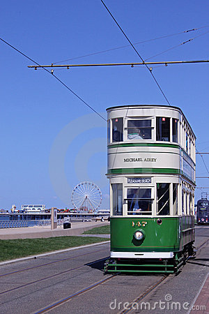 Historic tram on Blackpool Seafront Editorial Stock Image