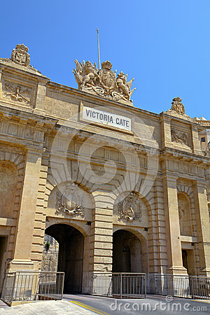 Historic Victoria Gate in Valletta, Malta.