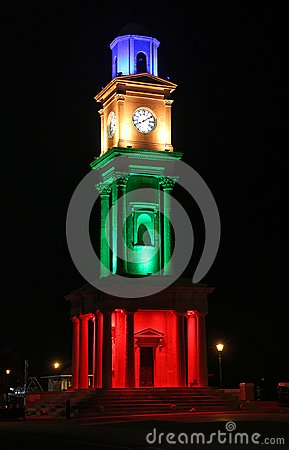 Free Historic Victorian Clock Tower Illuminated Royalty Free Stock Image - 105873326