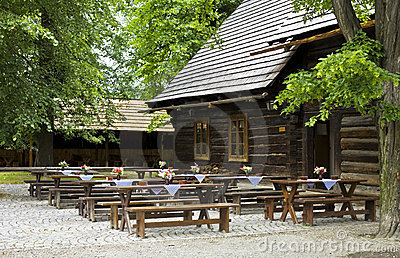 Historic wooden pub
