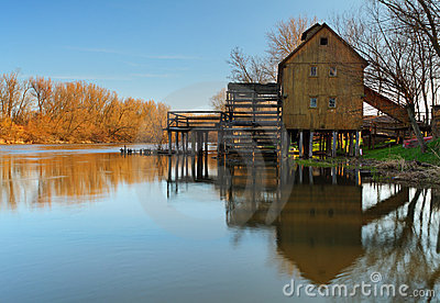 Historic wooden watermill