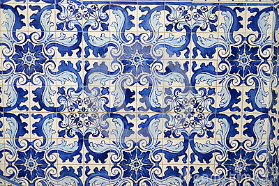Historical blue tiles from oriental china/ asia