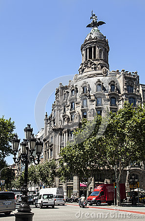 Historical Building Passeig de Gracia Barcelona Editorial Image