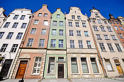 Historical buildings on Dluga street in Gdansk