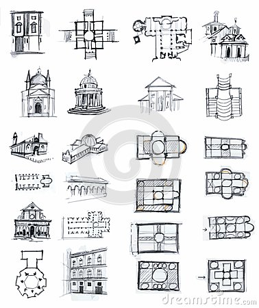 Historical buildings sketches