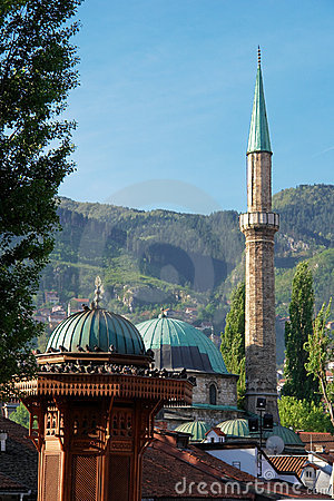 Historical fount and Mosque in Sarajevo