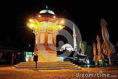 Historical fount in Sarajevo - Night scene