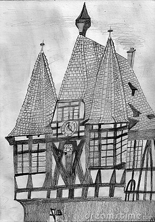 Historical Half Timbered Town Hall with a Clock