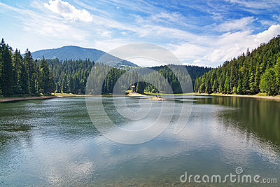 Historical lake in Carpathian mountains, the terrain Sinevir.