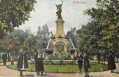 Historical postcard of Rotterdam in 1907 Editorial Photo
