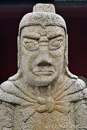 Historical statue of general in Ancient China