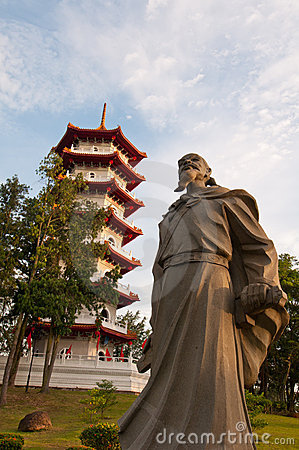 Historical statue and pagoda