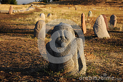 Historical stone sculptures on Silk road, Kyrgyzstan