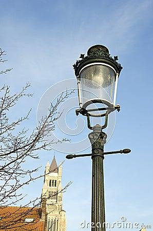 Historical street lamp in Brugge