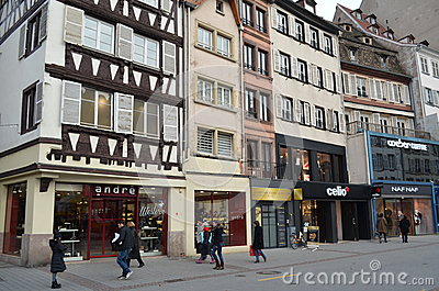 Historical street of Strasbourg in France Editorial Stock Image