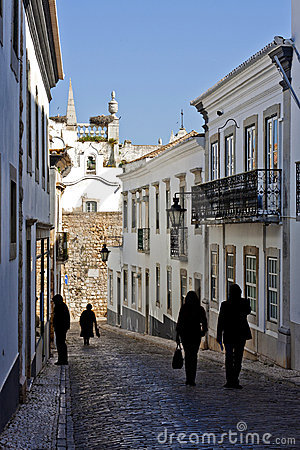 Historical street with tourists