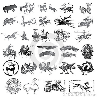 historical symbols with different kind of animals stock